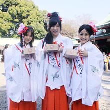 芸能界初の巫女ユニット「かぐや」 節分の日はもちろん神社で豆まき